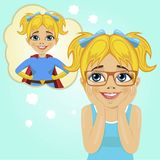 Little girl dreaming about becoming superhero. Cute little girl dreaming about becoming superhero Royalty Free Stock Images