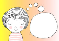 Little girl dreaming postcard. Little girl with a thought balloon and eyes closed Royalty Free Stock Photography