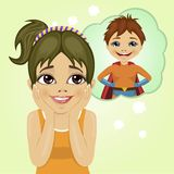 Little girl dreaming about superhero boy royalty free illustration