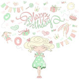 Little girl dreams about a birthday party. Stock Images