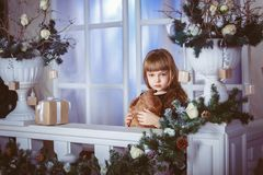 Little girl dreams of a holiday Royalty Free Stock Photos