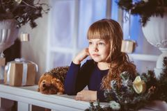 Little girl dreams of a holiday Royalty Free Stock Photography