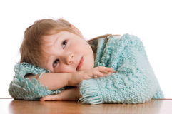 The little girl dreams isolated Royalty Free Stock Photo