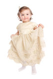 Little girl in dress. Isolated at white background Royalty Free Stock Photos