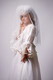The little girl in a dress of the bride Stock Photography