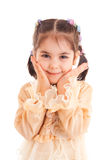 The little girl in a dress isolated on a white Stock Photography
