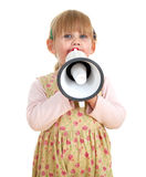 Little girl in dress with megaphone Stock Image