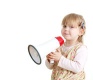 Little girl in dress with megaphone Stock Images
