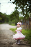 Little girl in dress outdoor photo Royalty Free Stock Photos