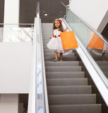 Little girl in dress with shopping bag Royalty Free Stock Image