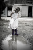 Little Girl in Dress and Wellies Stock Photography