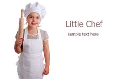 Little girl dressed as a cook Royalty Free Stock Photo