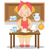 Little girl cooking  fresh pasta Royalty Free Stock Photo
