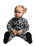 Little girl dressed as a Dalmatian Stock Image
