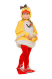 Little girl dressed as a duck. Isolated stock images