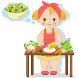 Little girl is preparing a salad Stock Images
