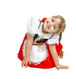 little girl dressed as Little Red Riding Hood, car Stock Photography