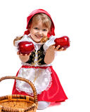 Little girl dressed as Little Red Riding Hood, car Stock Photos