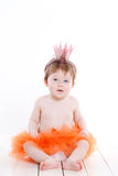 Little girl dressed as a princess frog. Royalty Free Stock Image