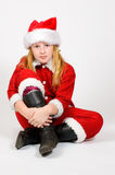 Little girl dressed as santa Royalty Free Stock Photo