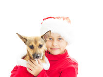 Little girl dressed as Santa Royalty Free Stock Images