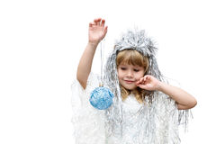 Little girl dressed as snowflakes Royalty Free Stock Image