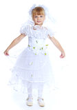 Little girl dressed as a white princess. Stock Image