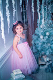 Little girl dressed in beautiful fashion white flower dress posing near Christmas tree Stock Images