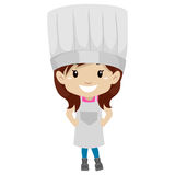 Little Girl Dressed Like a Chef. Vector Illustration of Little Girl Dressed Like a Chef Stock Photo