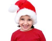 Little girl dressed like Santa stock image
