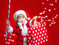 Little girl dressed in Santa Claus Royalty Free Stock Image