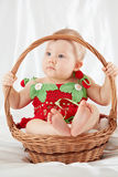 Little girl dressed in strawberry suit sitting in wicker basket royalty free stock photography