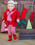 Little girl dressed trendy in red Stock Images