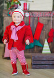 Little girl dressed trendy in red Royalty Free Stock Photography