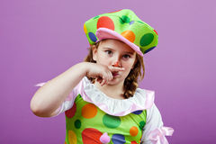 Little girl dressed up as a clown Royalty Free Stock Image
