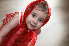 Little girl in dresses dancing with handkerchief Royalty Free Stock Images