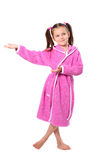 Little girl in dressing gown Royalty Free Stock Images