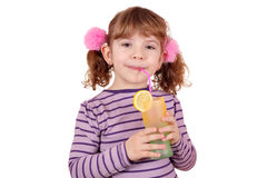Little girl drink lemonade Stock Photo