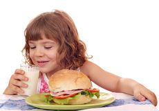 Little girl drink milk Royalty Free Stock Images