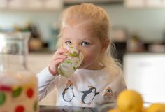 Little girl drinking lemonade. Little girl drinking fresh squeezed lemonade Royalty Free Stock Image