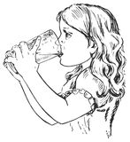 Little girl drinking from glass. Hand drawn vector illustration Little girl drinking from glass Stock Photo