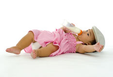 Little girl drinking milk Royalty Free Stock Photos
