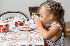 Little girl is drinking tea Stock Images