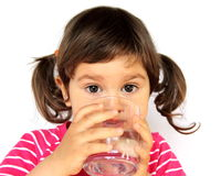 Little Girl Drinking Water Stock Images