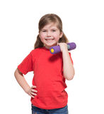 Little girl with dumbbell Stock Photography