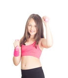 Little girl with dumbbells Royalty Free Stock Images