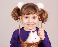 Little girl with dwarf bunny Stock Photo