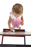 Little Girl with Easel from top Stock Photos