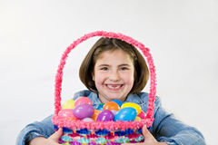 Little Girl at Easter. Little Girl With Her Easter Basket Royalty Free Stock Images