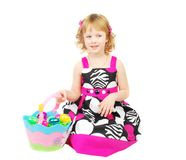 Little girl with Easter bascket. Royalty Free Stock Image